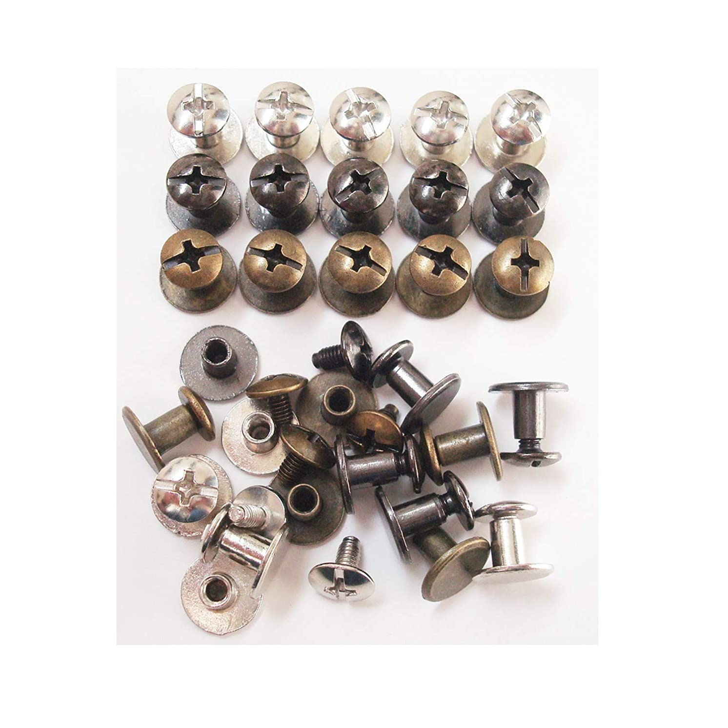 Chicago Screws Solid Belt Tack Screw,Post Fastener Leather Stud Repair Rivets,Mixed Pack 30 Sets