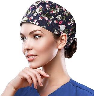 قبعة العمل للنساء والرجال، قبعات رأس مطبوعة بمقاس واحد، قبعة عمل ملونة مع عصابة رأس وزر قابل للتعديل، قبعات جمجمة للفتيات