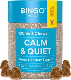 Calming Treats for Dogs - Dog Anxiety Relief for Dogs 100% Organic Hemp Oil Chews, L-Theanine Bites Treat for Separation Anxiety Aid in Dog Anxiety for Stress, Fireworks and Thunder - Made In USA