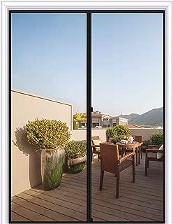 MAGZO Magnetic Screen Door 50 x 83, Reinforced Fiberglass Mesh Curtain Double Door Mesh with Full Frame Hook&Loop Fits Door Size up to 50