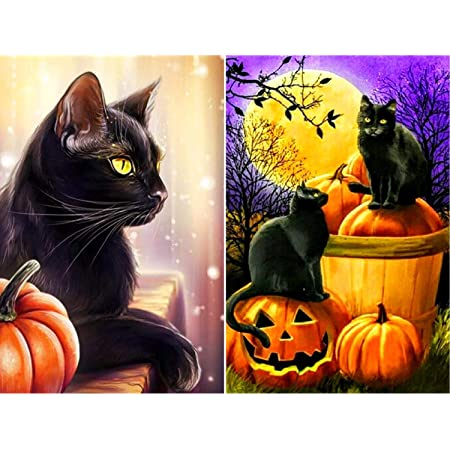 FANTESI 2 Pcs 5D DIY Diamond Painting Halloween Full Drill Embroidery Paint Pumpkin Cat Rhinestone Embroidery Cross Stitch Painting with Diamonds for Home Wall Decor 12 x 16inch