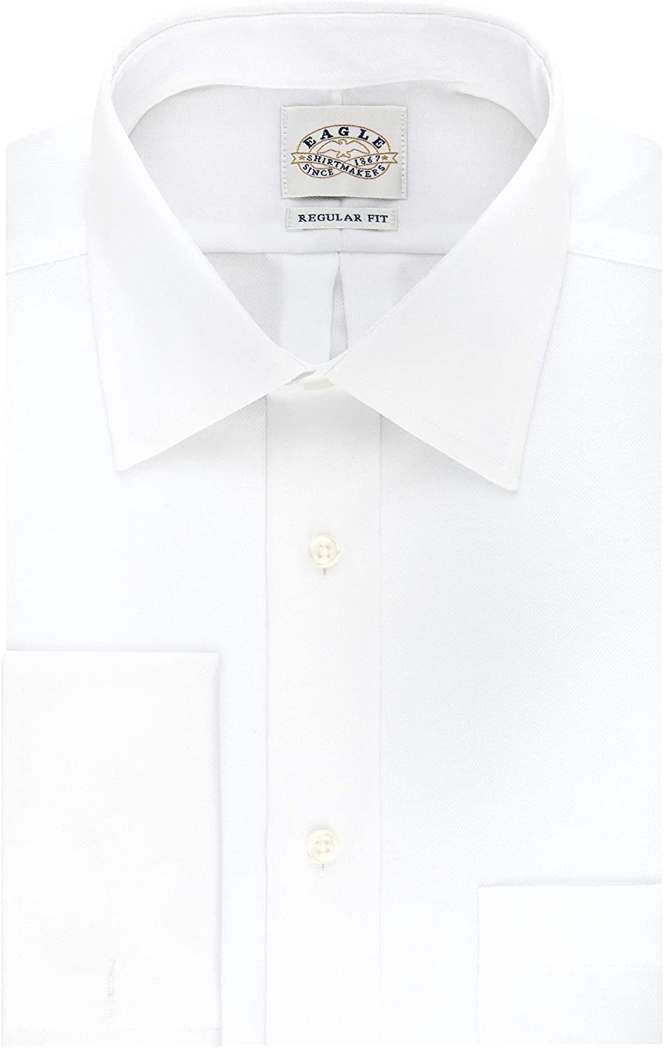 Eagle Men's Dress Shirt Regular Fit Non Iron Solid French Cuff