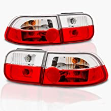 AmeriLite 2/4 Door Replacement Brake Trunk Taillights Red/Clear Set for 92-95 Honda Civic - Passenger and Driver Side