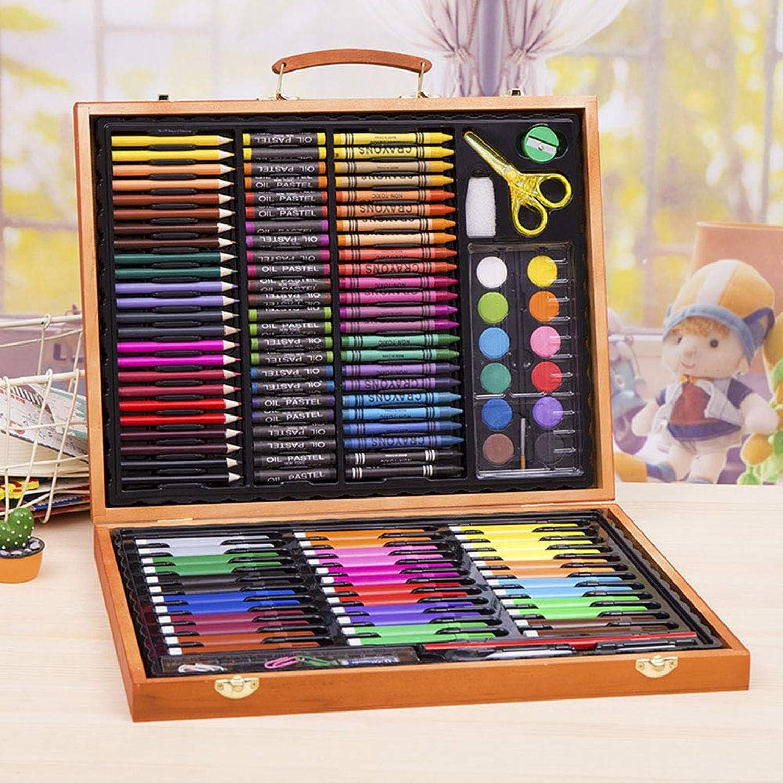 ZQWJ Malset 150Pcs Holzkiste Kinder Geschenk Aquarell Stift Set Malerei Lernen Kit Kinder Schreibwaren