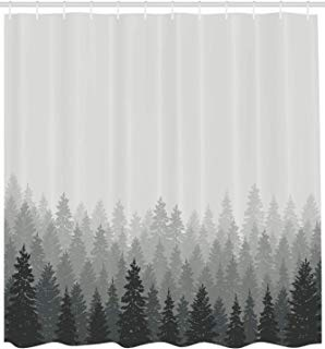 """Ambesonne Forest Shower Curtain, Wilderness Pattern with Many Trees Nature Panorama Monochrome Woods, Cloth Fabric Bathroom Decor Set with Hooks, 84"""" Extra Long, Reseda Grey"""