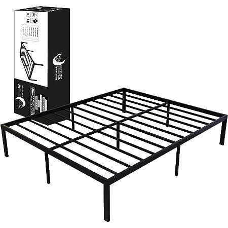 Cadre de Lit Métal 160x200 x 36 cm - Sommier en Métal 160x200 cm Dreamzie - pour Lit et Matelas Double - Résistant, Assemblage Facile, Grande Capacité de Rangement - Sommier Noir