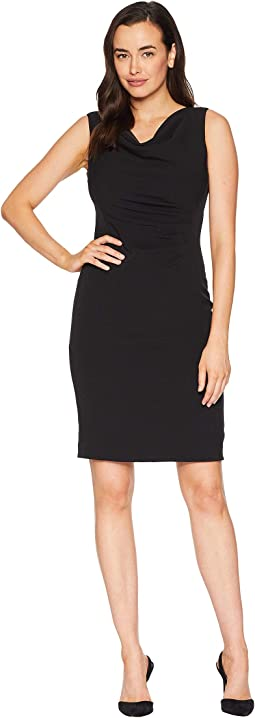 Side Rouched Sleeveless Dress with Cowl Neck