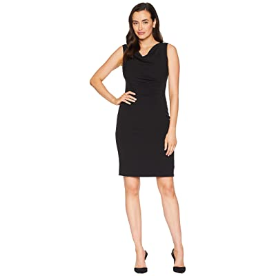 Tahari by ASL Side Ruched Sleeveless Dress with Cowl Neck (Black) Women