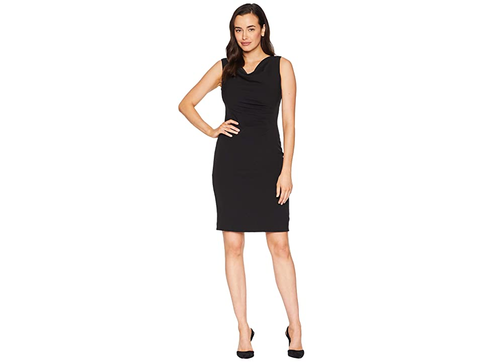 Tahari by ASL Side Rouched Sleeveless Dress with Cowl Neck (Black) Women