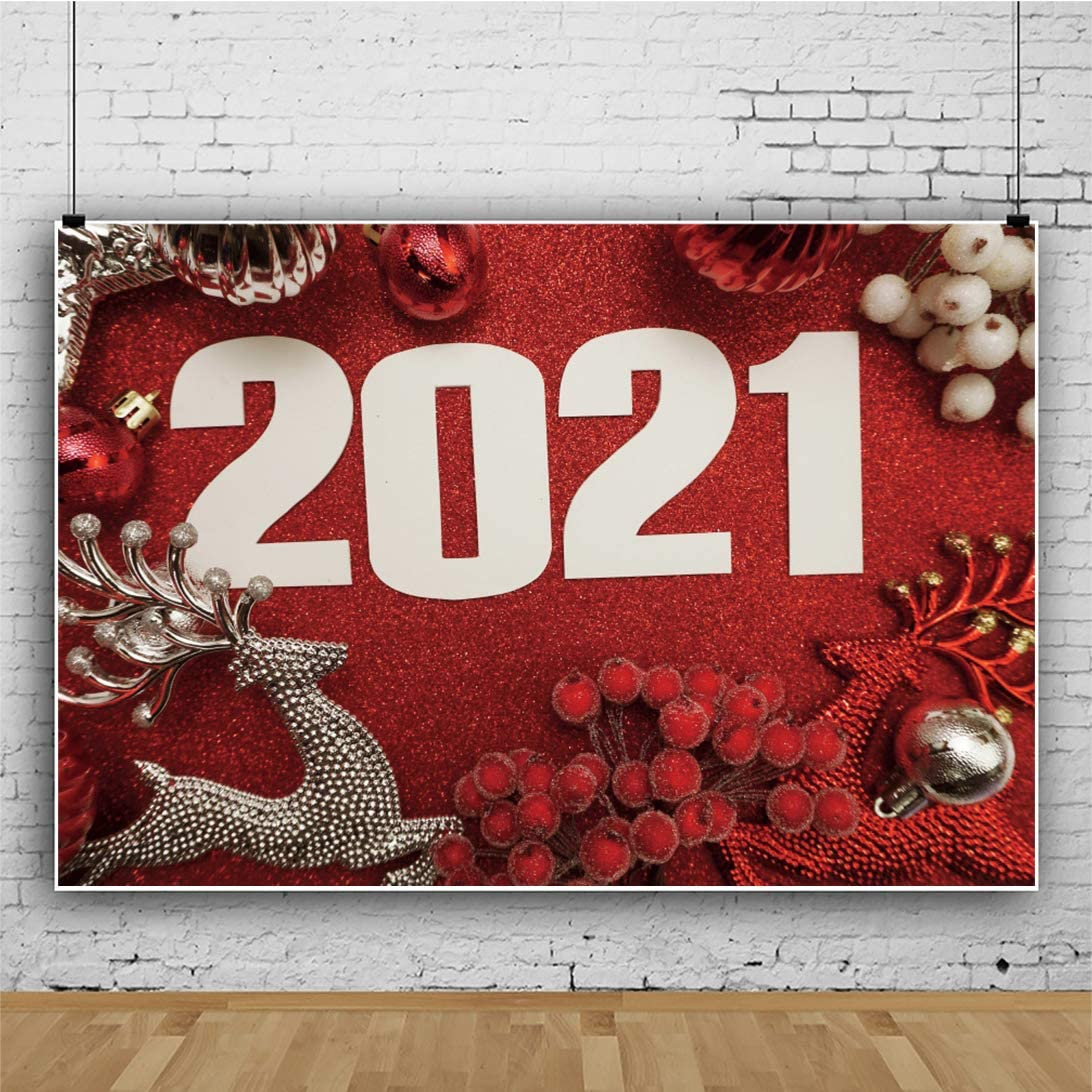 CSFOTO 8x6ft Happy New Year Backdrop Silver Reindeer Red Berry 2021 Background for Photography Christmas Party New Year Decor Banner Christmas Photo Wallpaper