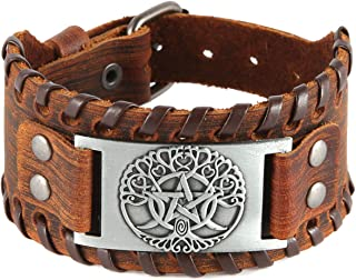 HZMAN Tree of Life Nordic Viking Bracelet with Yggdrasil Amulet - Pagan Jewelry of Moon and Star