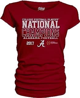 NCAA Alabama Crimson Tide National Championship Women's Junior Dyed Scoop Neck Tee, X-Large, Cardinal