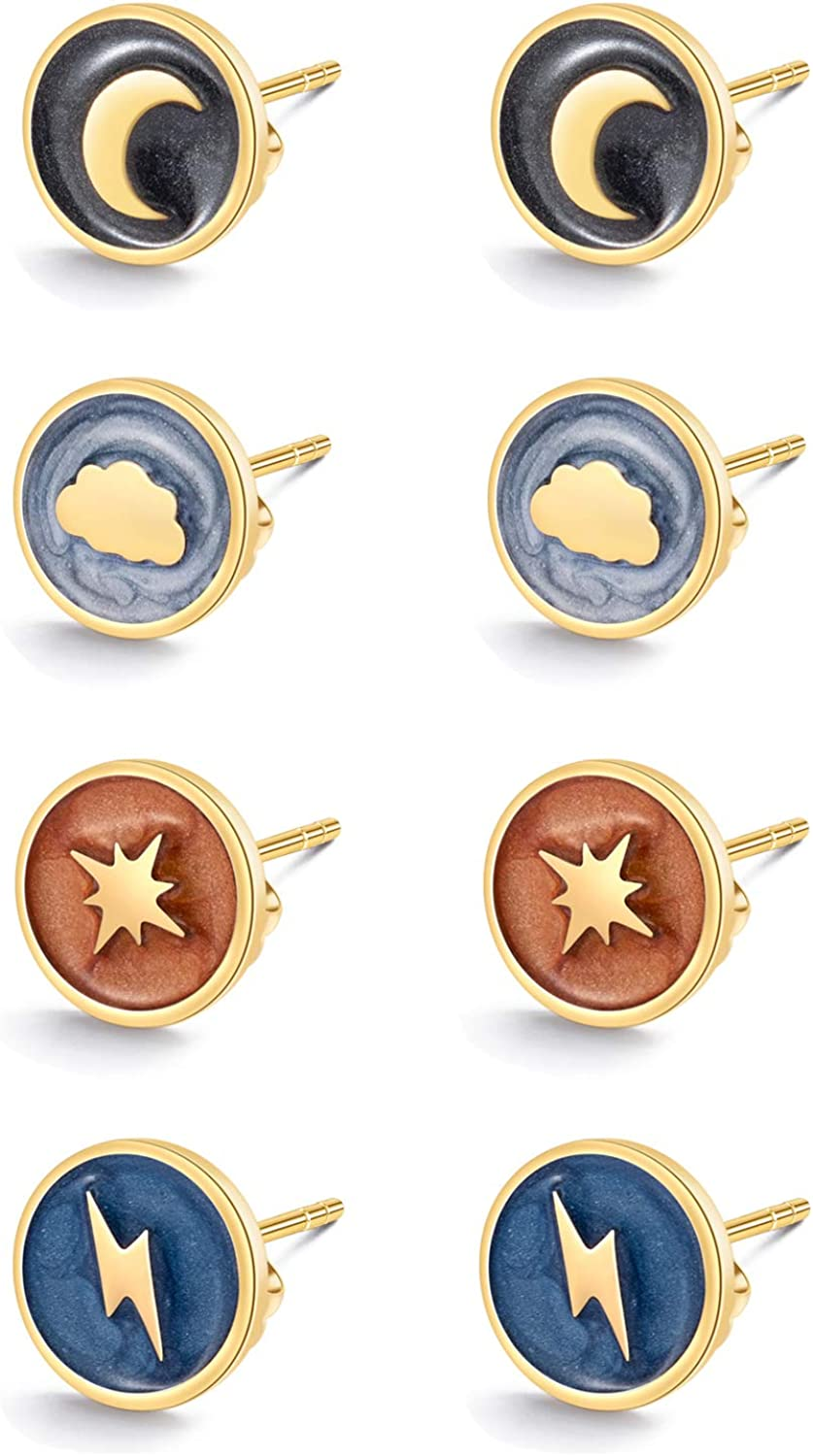 14K Gold Plated Stainless Steel ,Coloful Resin, Dainty Small Earrings for Women(4 Pairs/Pack) Minimalist Design Moon,North Star,Cloud,Lighting.Daily Wear Meaningful Gifts,Matching Clothes and Makeup…