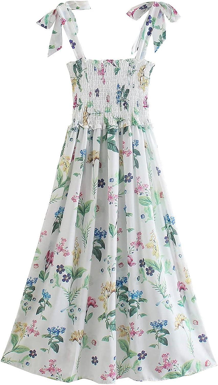 Women's Tank Maxi Dress Summer Boho Floral Sleeveless Ruffle Beach Sling Dress Casual Long Dress