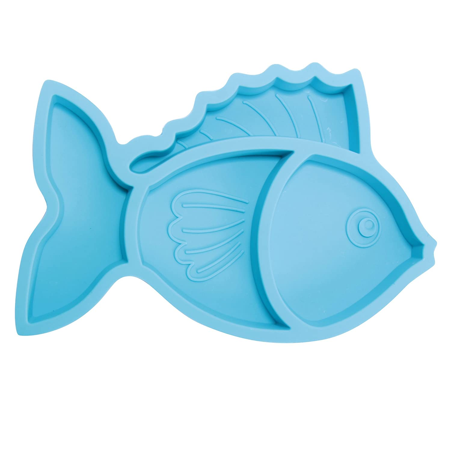 Brinware Silicone Baby Plates Non Slip Divided Dish for Toddlers and Kids - Blue Fish