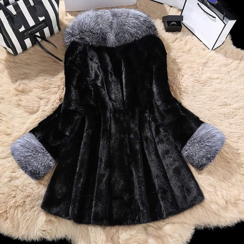 Damen Pelzmantel Parka Winter Mantel Elegant Winterjacke Frauen Fleecejacke Felljacke Große Größe Schwarz