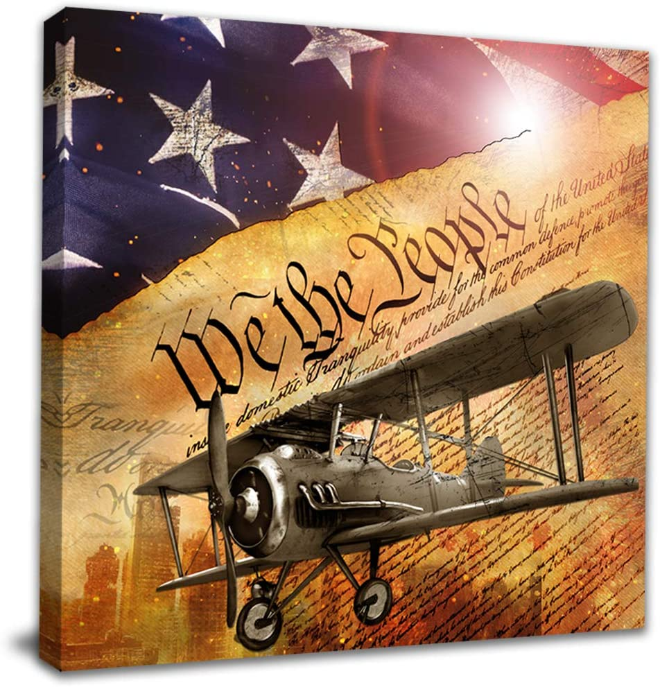 NLKTIYC Airplane Wall Max 60% OFF Decals Flag Biplane De Print Regular store Canvas