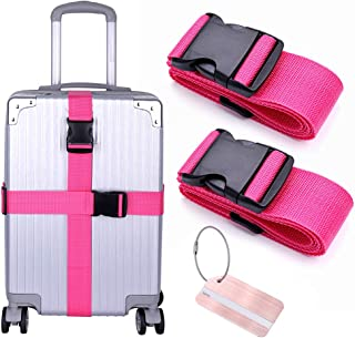 Tinksky Travel Cross Style Suitcase Luggage Packing Belt Stripe Rosy