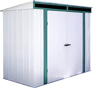 Arrow 8' x 4' Euro-Lite Shed Eggshell with Green Trim and Pent Roof Steel Storage Shed