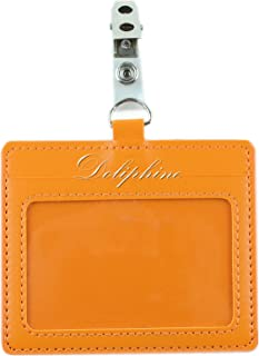 Horizontal Deluxe Durable PU Leather ID Badge Holder with 1 ID Window and 1 Card Slot and Alligator Clip (Orange)