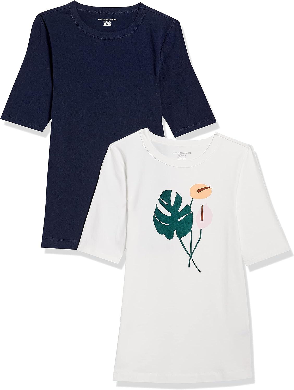 Amazon Essentials Women's 2-Pack Slim Fit Half Sleeve Crewneck Graphic T-Shirt