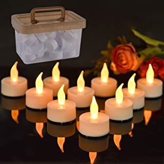 GoodLights Flameless Candles with Storage Bin, 24Pack LED Votive Candles Battery Operated, Realistic Flameless Tea Light Candles for Festival Room Party Decorations(Warm White)