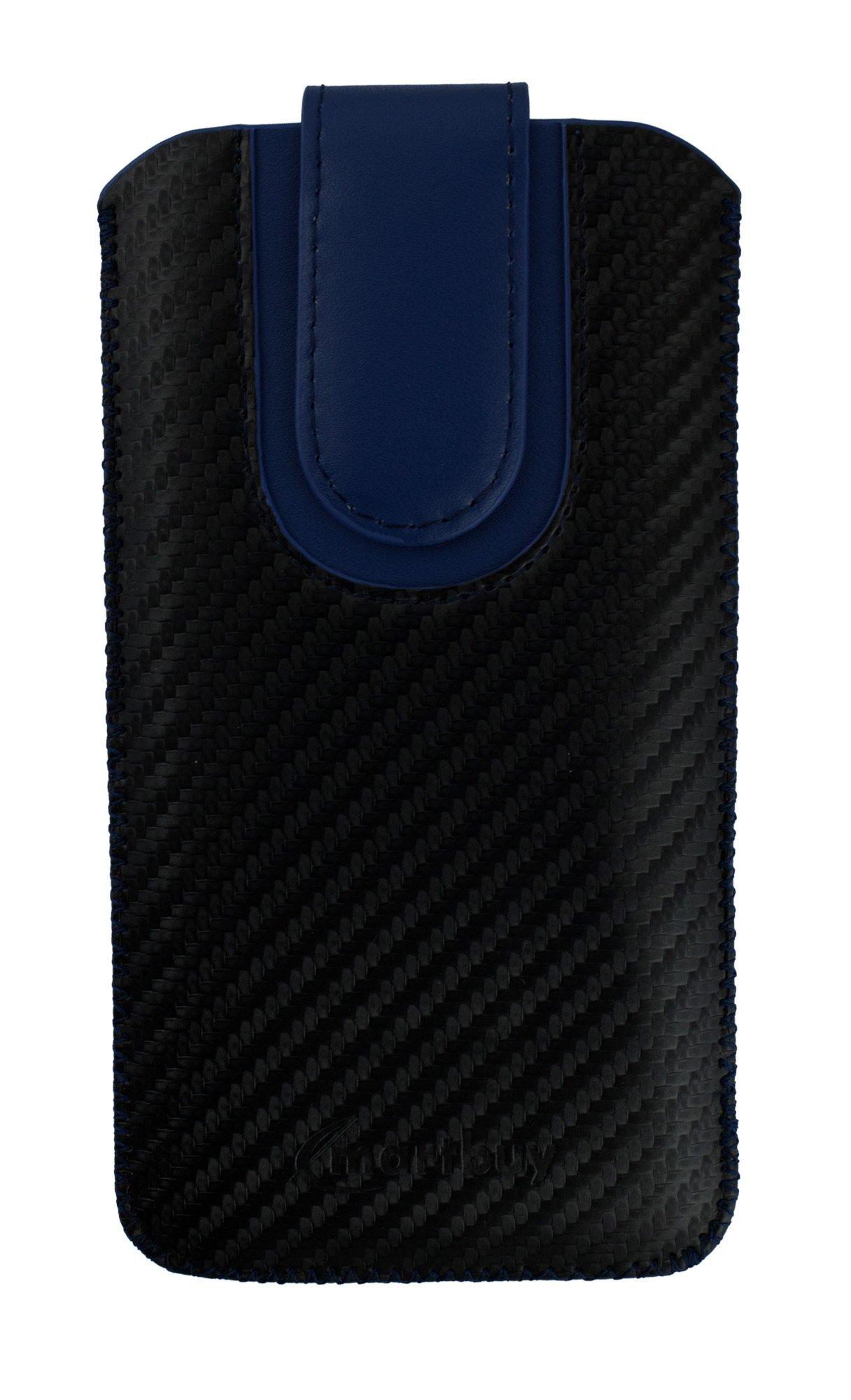 Emartbuy Negro/Azul Carbono Fibre Finish Premium PU Cuero De La Diapositiva En La Funda De La Bolsa Caso Titular De La Cubierta (Talla LM4) Compatible con Smartphones Enumerados Abajo: Amazon.es: Electrónica