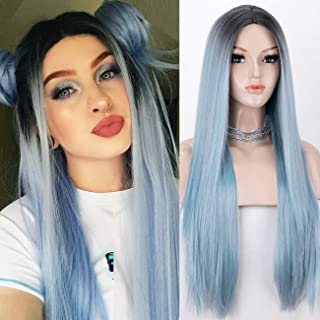 K'ryssma Fashion Blue Ombre Wig with Dark Roots Long Straight Synthetic Wig with Middle Part Blue Wigs for Women Heat Resi...