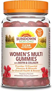 Sundown Women's Multivitamin with Biotin, Collagen, Vitamins A, C, D, E Supports Immune Health* 60 Gummies (Pack of 3) Non...