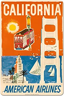 Pacifica Island Art California - San Francisco Cable Car, Golden Gate Bridge - American Airlines - Vintage Airline Travel ...