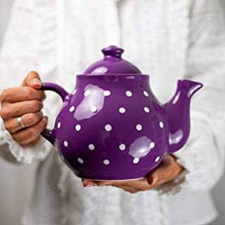 City to Cottage Handmade Purple and White Polka Dot Large Ceramic 1,7l/60oz/4-6 Cup Teapot with Handle and Lid, Unique Pottery Housewarming Gift for Tea Lovers