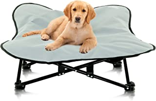 Portable Elevated Dog Bed   Folding Pet Cot for Indoor, Outdoor, Traveling, Camping   Fold Up Steel Frame with Padded Cush...