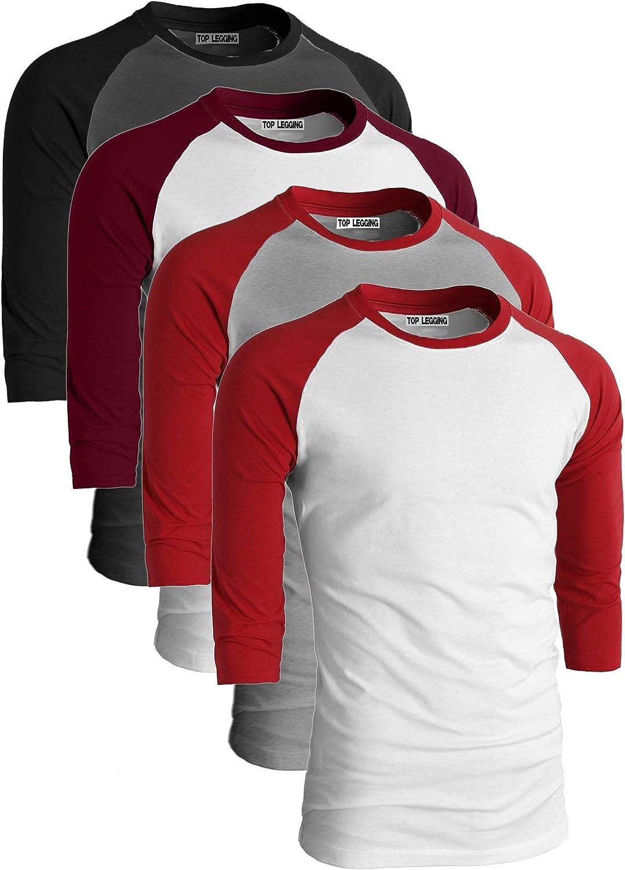 TL Mens 4 Pack 3//4 Sleeve Baseball Cotton Crew Neck Jersey Raglan Tee Shirts