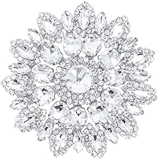 Trimming Shop Rhinestone Motif Diamante Crystals Sew on Applique Patch - Perfect for Wedding Bridal Dress, Casual or Formal Wear Fashion Accessories 65mm Patch No. A502