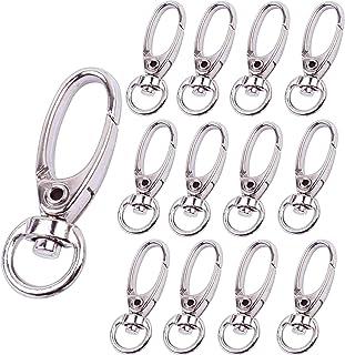 Bonayuanda Pack of 50 D Swivel Trigger Clips Hooks Metal Key Ring Lobster Clasps