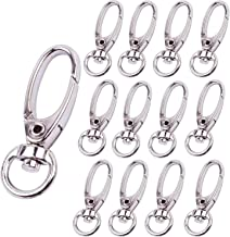 BronaGrand Pack of 50 D Swivel Trigger Clips Hooks Metal Key Ring Lobster Clasps