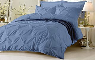 AAJIVA DECORE 600 Thread Count 100% Egyptian Cotton 600TC Pinch Pleated 1PC Duvet Cover with Zipper & Corner Ties (Oversized King, Light Blue)