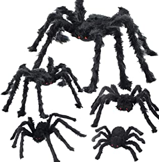 Halloween Spider Decorations 5 Pcs Realistic Hairy Spiders Set, Halloween Scary Spider Props for Outdoor Indoor Yard Patio...