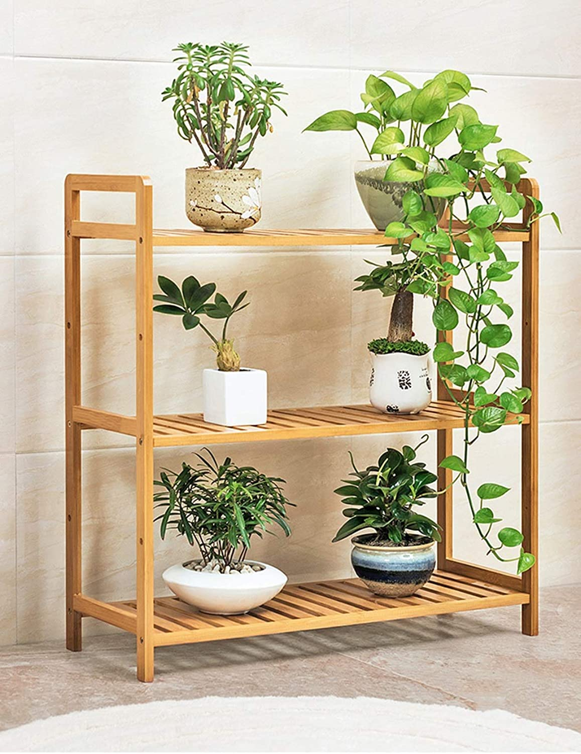 Flower Frame Bamboo Frame Multi-Layer Indoor Multi-Function Living Room Combination Plant Potted Green Plant Balcony Flower Stand Three Styles Optional (Size   3-Tier Length 68cm)