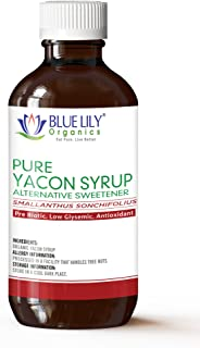 Blue Lily Organics | Yacon Syrup | Alternative Sweetener | All Natural Prebiotic, Low Glysemic, Antioxidant | Anti-Inflammatory Properties | Half the Calories of Sugar | Weight Management | 8 fl. oz
