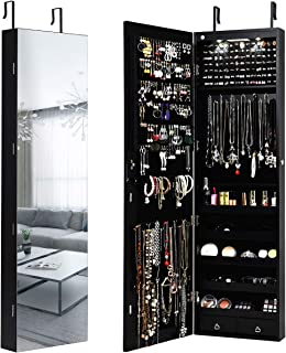 Giantex Wall Door Jewelry Armoire Cabinet with Full-Length Mirror, 2 LEDs Lockable Large Storage Jewelry Organizer with Wide Mirror, Makeup Pouch, Bracelet Rod, Jewelry Amoires w/ 2 Drawers (Black)
