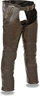 Milwaukee Leather Mens Retro Leather 4 Pocket Thermal Lined Chaps
