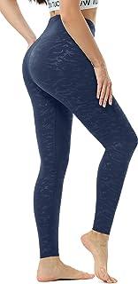 Persit Damen Sport Leggings, Hochwertige Prägedruck Yogahose Blickdicht Sporthose mit Taschen