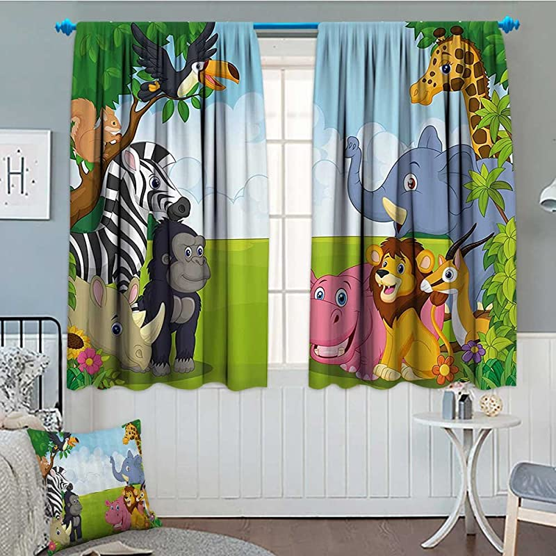 Strongger Kids Decor Home Decoration Thermal Insulated Kids Decor Children Nursery Room Safari Themed Cartoon Animals Image Art Print Blackout Draperies For Bedroom 72 X63 Multicolor