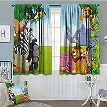 SeptSonne-Home Kids Decor Thermal Insulating Blackout Curtain Kids Decor Children Nursery Room Safari Themed Cartoon Animals Image Art Print Patterned Drape for Glass Door 52