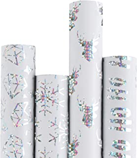 RUSPEPA Christmas Gift Wrapping Paper - White Paper with Sliver Shiny Pattern Xmas Designs Perfect for Christmas - 4 Roll-30Inch x 10Feet Per Roll