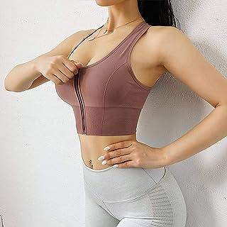 2020 Front Zipper Sports Bra for Women Underwear Push Up Yoga Crop Top Bras Solid Athletic Vest Gym Fitness Shirt Sportswear