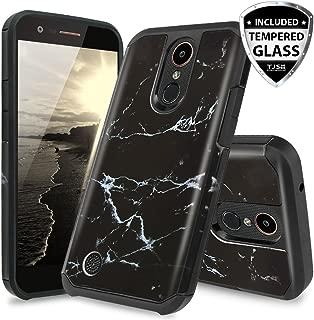 TJS Case for LG Aristo 2/Aristo 2 Plus/Aristo 3/Aristo 3 Plus/Tribute Dynasty/Tribute Empire/Fortune 2/Rebel 3 LTE [Full Coverage Tempered Glass Screen Protector] Hybrid Armor Marble Phone (Black)