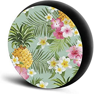 Deeprinter Hawaiian Flower Pineapple Spare Tire Cover Polyester Universal Sunscreen Waterproof Wheel Covers Trailer RV SUV...