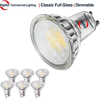 Explux Classic Full Glass LED GU10 Flood Light Bulbs, Dimmable, 50W Equivalent, Indoor/Outdoor, 2700K Soft White, 6-Pack